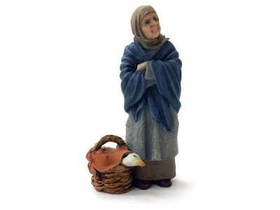 Frau mit Gans im Korb